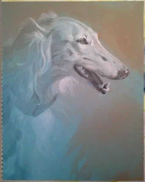 Silken portrait #3, Stage 2