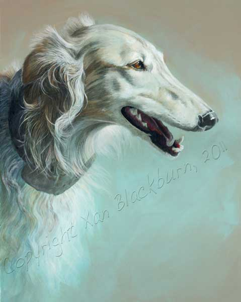 Silken Windhound Portrait, Hunter, is … Done!  (Probably)