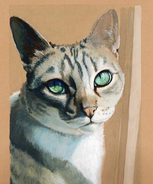 Coco cat portrait, gouache on mat board