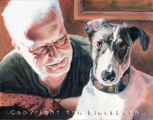 Dad and Lilly pet human portrait