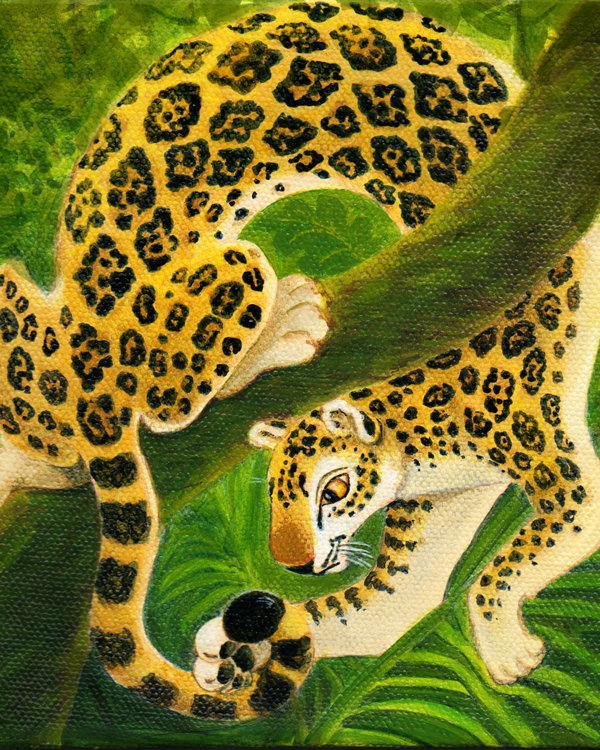 Jaguar painting for my grandson's room acrylic on canvas © Xan Blackburn