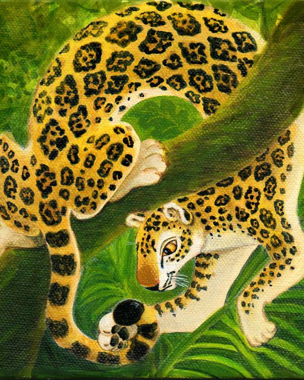 Jaguar painting for my grandson's room acrylic on canvas © Xan Blackburn