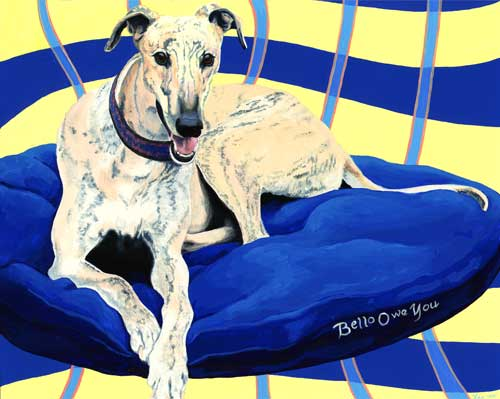 Bello Owe You greyhound portrait