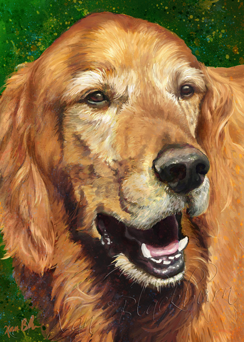 Radar digital painting golden retriever