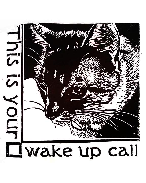 Coco linocut print approx 6 x 6 © Xan Blackburn
