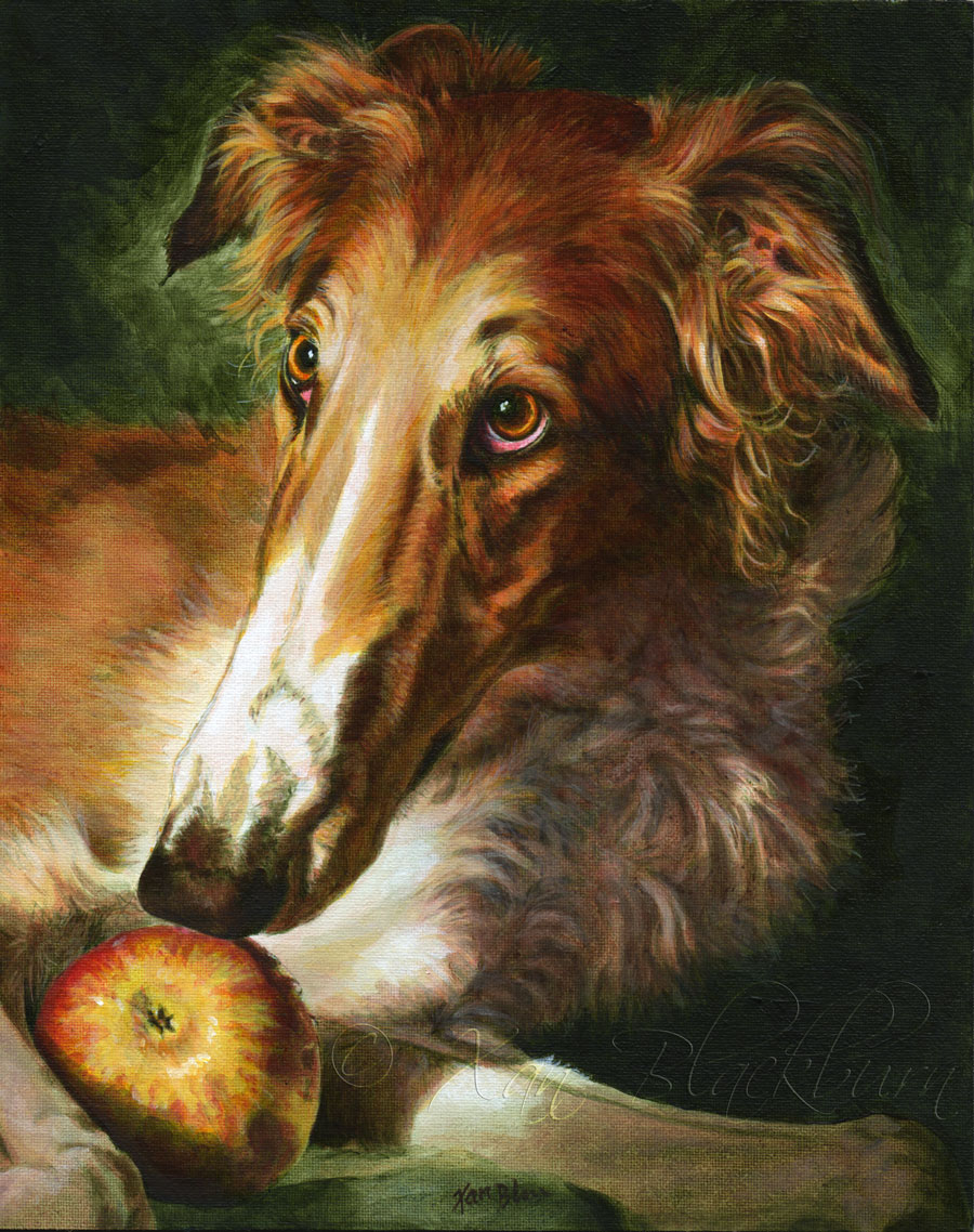 "Timber (borzoi) 8"" x 10"" acrylic on canvas panel © Xan Blackburn 2014"